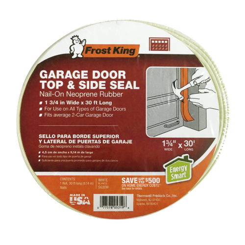 Frost King Weather Stripping SG30W Plastic Garage Door Side And Top Kit White